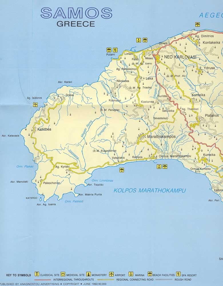 Samos Map Map of Samos Island Aegean Sea Greece Detailed Samos Map